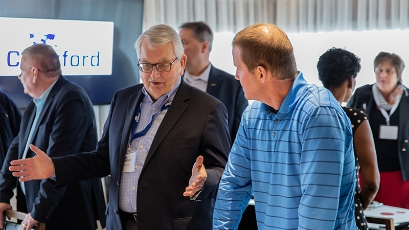 Crawford field operations, sales team and catastrophe services discuss industry trends and innovations with clients during Crawford's 2019 Catastrophe Services Conference Reception.