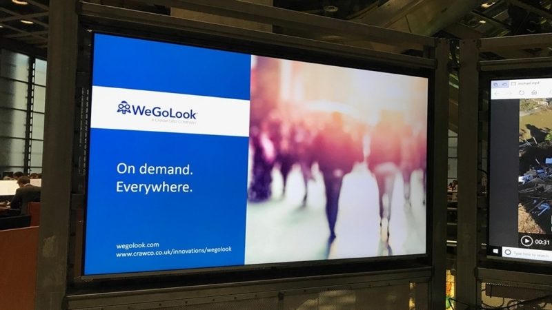 WeGoLook's presentation on display at the Lloyd's Innovation Showcase.