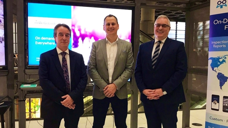 From left to right: Richard Day, Vice President, Lloyd's & London Market, Crawford; Phil Madeley, WeGoLook UK; and Clive Nicholls, President, UK & Ireland, Crawford — gathered at the Lloyd's Innovation Showcase.